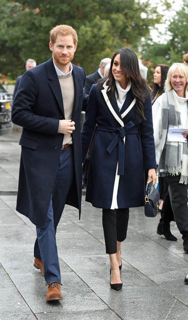 Prince Harry and Meghan Markle during a visit to Millennium Point in Birmingham (Victoria Jones/PA)