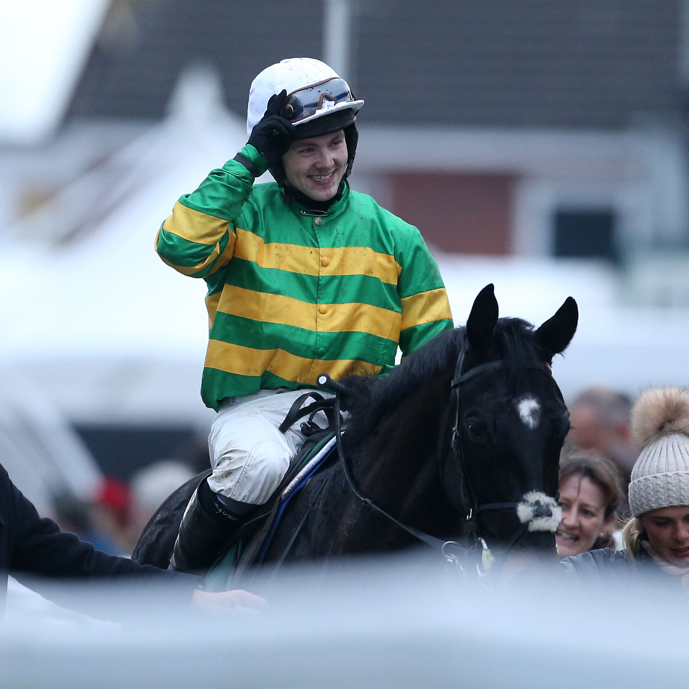 Jonjo O'Neill jnr celebrates victory aboard Early Doors