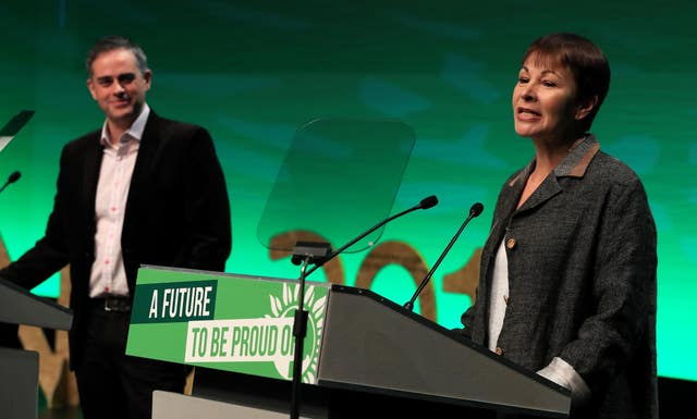 Green co-leaders Jonathan Bartley and Caroline Lucas will speak at the party's spring conference on Saturday. (Peter Byrne/PA)