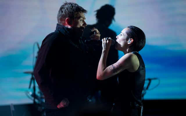 Damon Albarn and Jehnny Beth performing with Gorillaz (Isabel Infantes/PA)