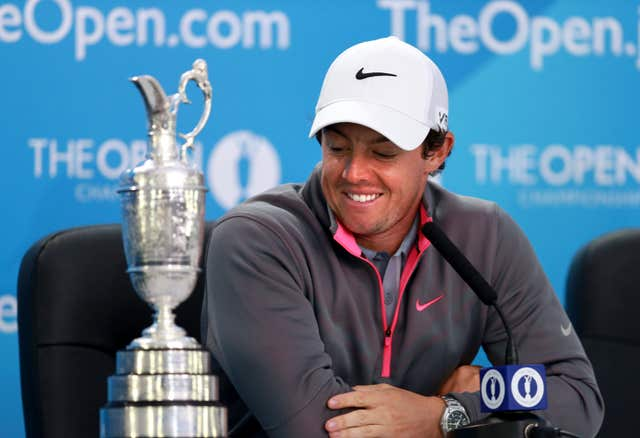 McIlroy with the Claret Jug after winning the 2014 Open