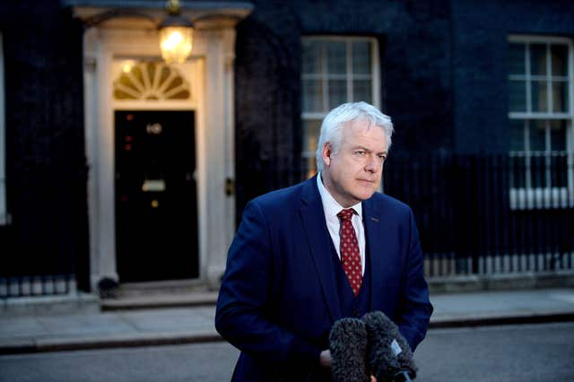 First Minister of Wales Carwyn Jones talks to the media after attending a meeting of the Joint Ministerial Committee at Downing Street in London, in the latest bid to end the dispute which has developed with the devolved governments over the UK Government's flagship EU Withdrawal Bill (Kirsty O'Connor/PA)