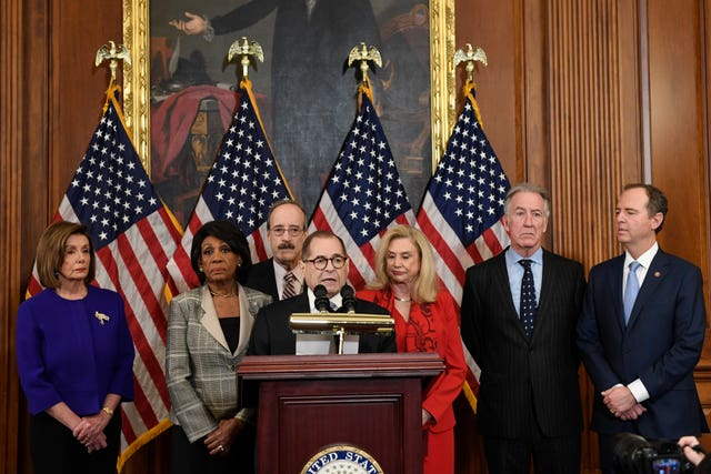 Democrats Nancy Pelosi,  Maxine Waters, Eliot Engel, Jerrold Nadler, Carolyn Maloney, Richard Neal and Adam Schiff