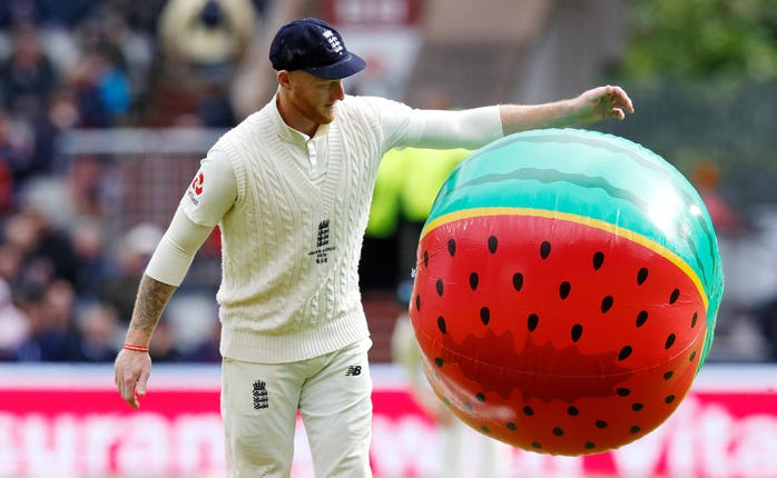Ben Stokes had to clear an inflatable watermelon off the field
