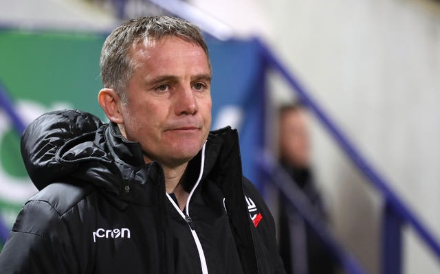 Phil Parkinson's Bolton have been relegated from the Championship (Martin Rickett/PA).