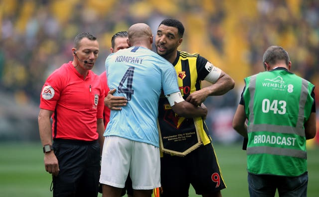 The pre-match formalities were as close as Kompany and Deeney came