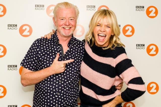 Chris Evans, with his replacement, Zoe Ball