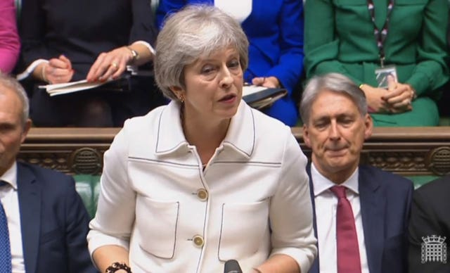 Prime Minister Theresa May addresses the House of Commons
