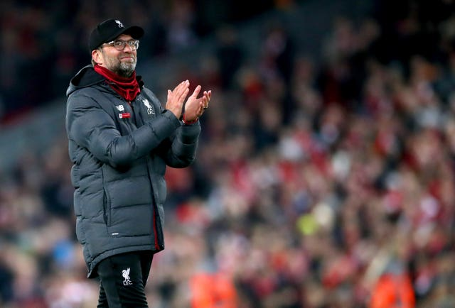 Liverpool manager Jurgen Klopp applauds the fans at the end of the Premier League match at Anfield following his side's 1-0 win over Wolves