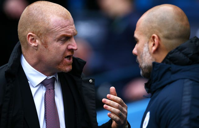 Burnley manager Sean Dyche (left) (PA)