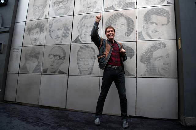 Sir Cliff Richard during the unveiling of the Wall Of Fame