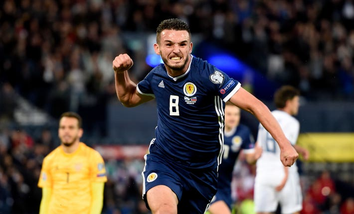 Scotland's John McGinn celebrates opening the scoring