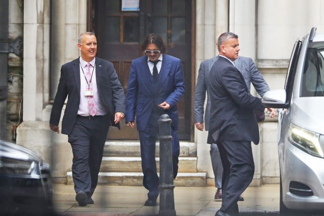 Actor Johnny Depp leaves the High Court in London
