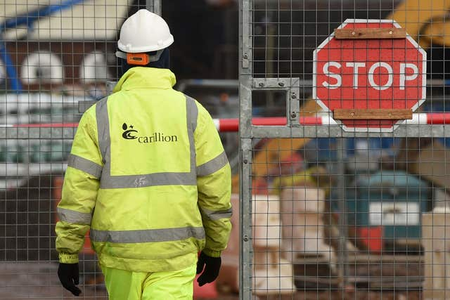 A Carillion worker at Midland Metropolitan Hospital in Smethwick where construction work is being carried out by the firm (Joe Giddens/PA)