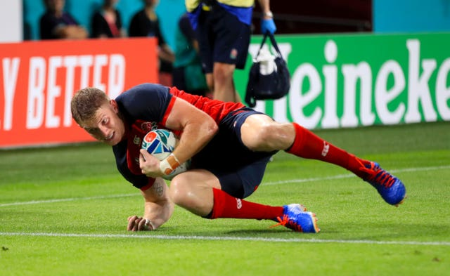 Ruaridh McConnochie scored his first England try in the first half against the United States