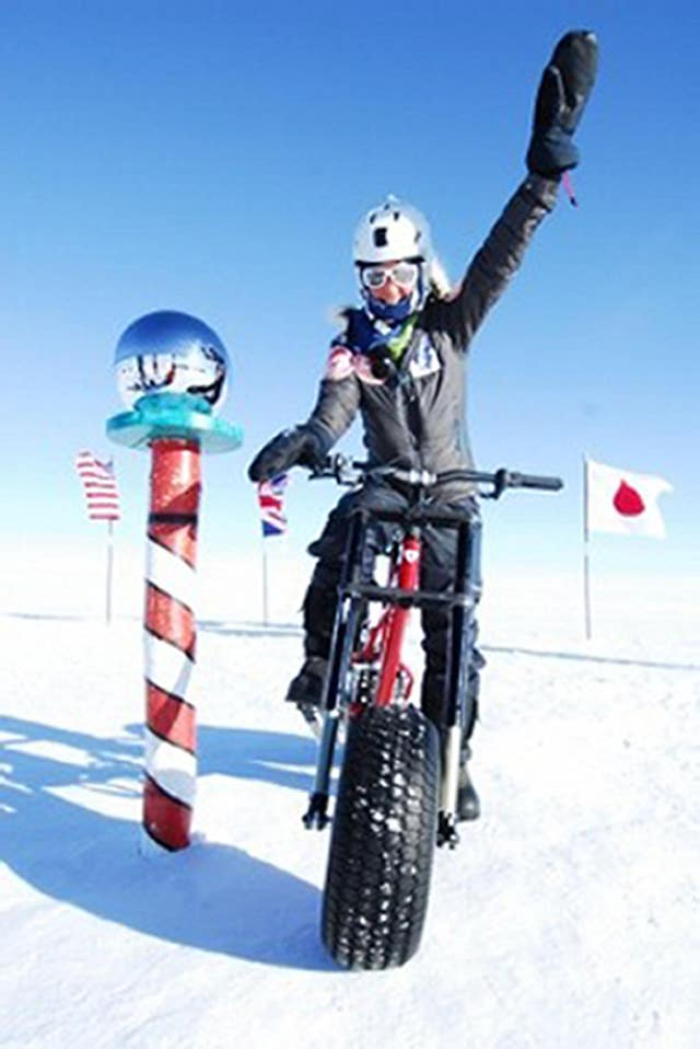 Helen Skelton completed a gruelling 500 mile expedition across Antarctica on the special bike (Mike Carling/Comic Relief/PA)