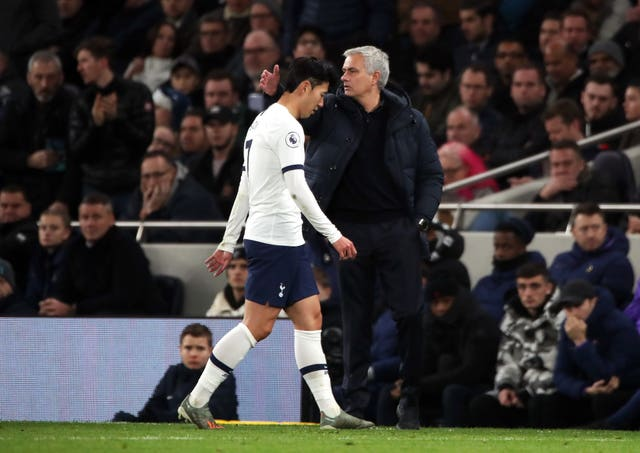 Son Heung-min, left, was sent off for kicking Antonio Rudiger
