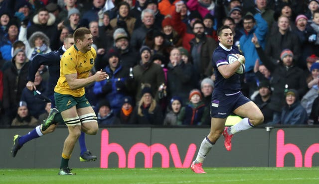 Scotland's Sean Maitland runs away to score his side's fifth try
