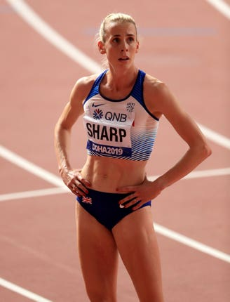 Lynsey Sharp crashed out in the heats of the 800m