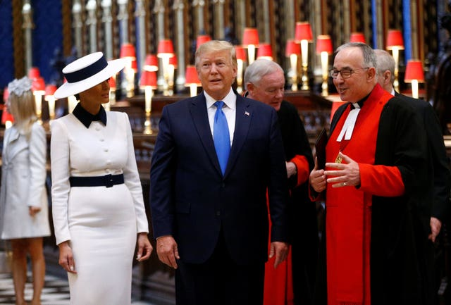 Donald Trump and his wife Melania had a tour of Westminster Abbey (Henry Nicholls/PA)