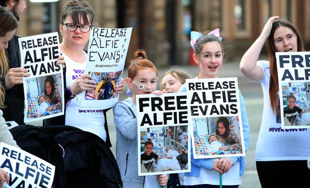Supporters of the family have protested outside Alder Hey hospital (PA)