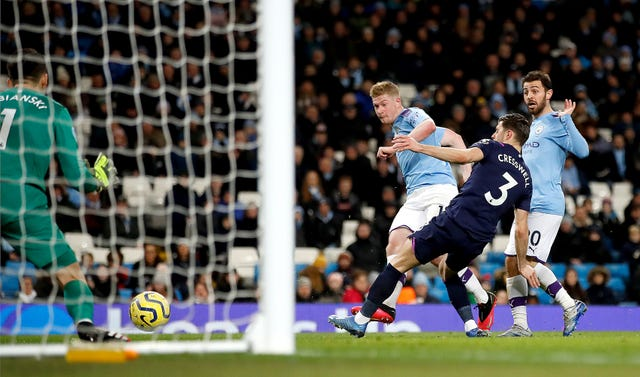 Kevin De Bruyne was on target as Manchester City beat West Ham