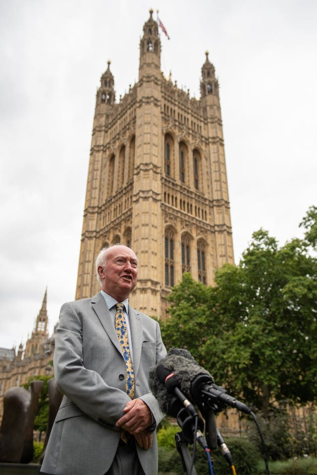 Peter Lawrence, the father of missing Claudia Lawrence, speaks at a press conference in Westminster