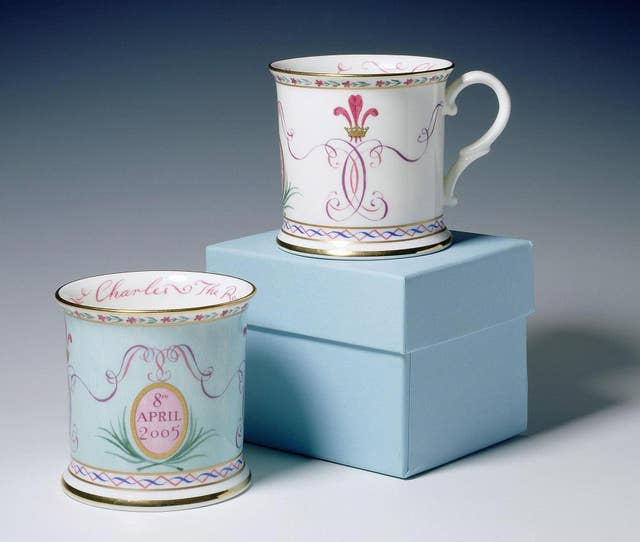 Two official china tankards celebrating Charles and Camilla's marriage featuring the date April 8 - which was later changed (Royal Collection/PA)