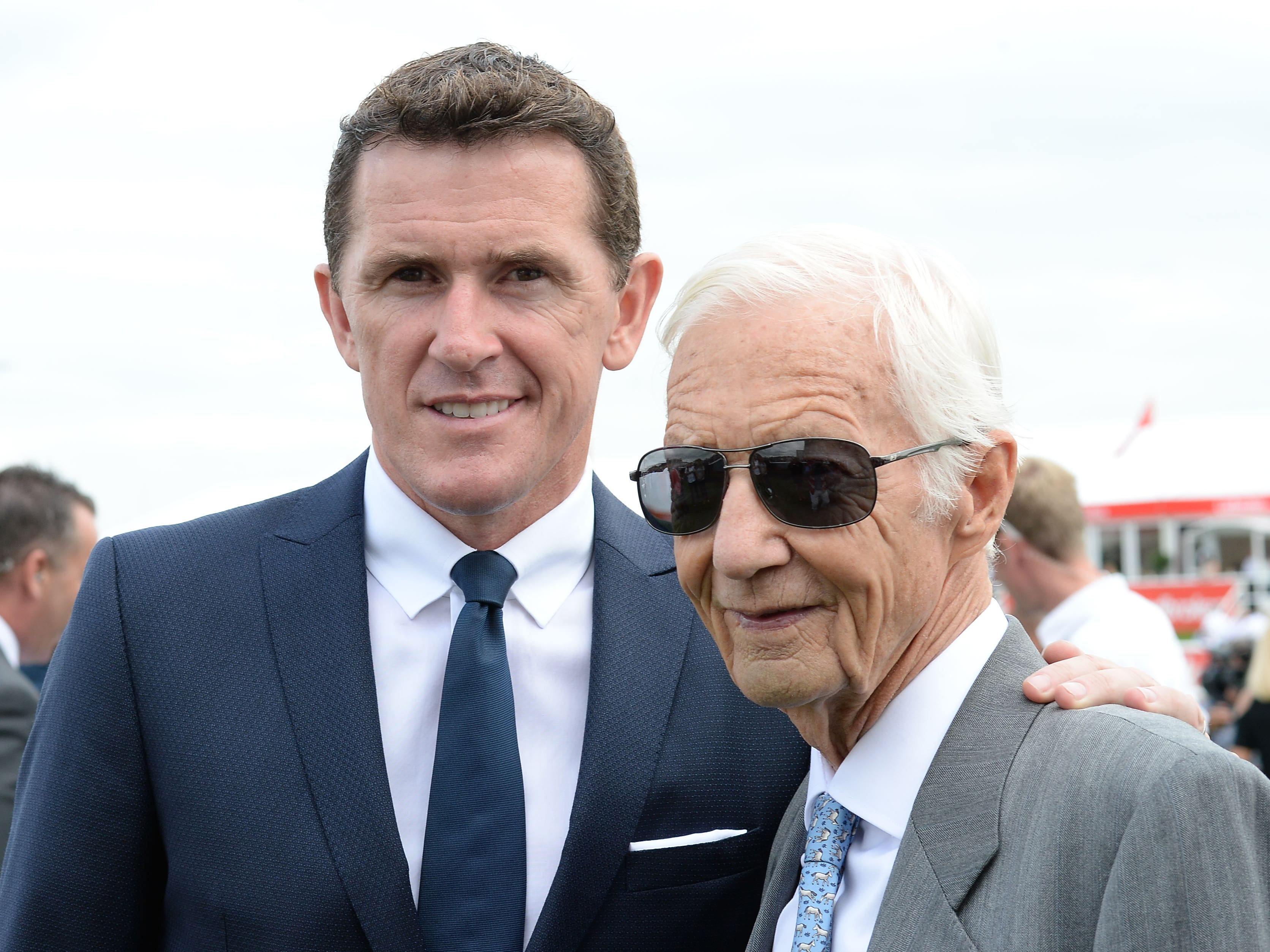 Lester Piggott with Sir Tony McCoy in 2016 (Anna Gowthorpe/PA)