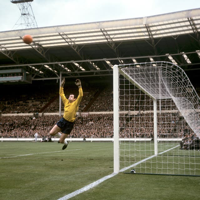 Gordon Banks playing in goal