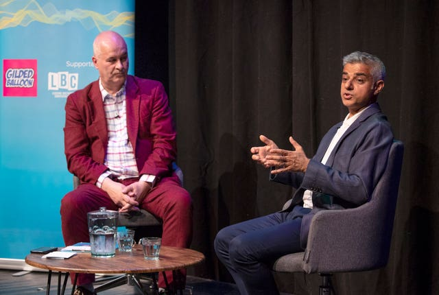 Mayor of London Sadiq Khan being interviewed by Iain Dale