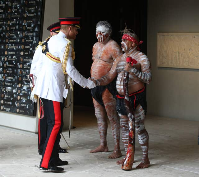 Harry also met Indigenous Australians as part of the ceremony