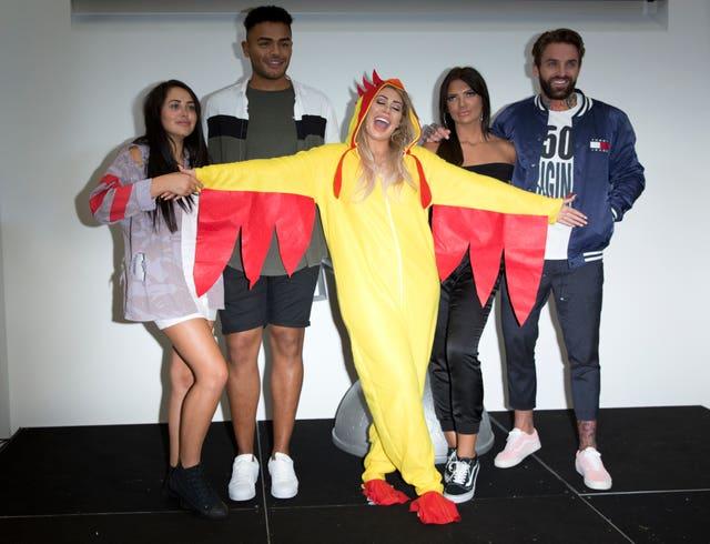 (left to right) Marnie Simpson, Nathan Henry, Chloe Ferry, Abbie Holborn and Aaron Chalmers from the cast of Geordie Shore (Isabel Infantes/PA)