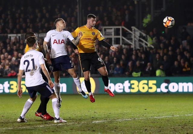 Padraig Amond headed Newport in front against Tottenham