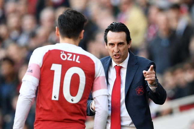 Unai Emery has used Mesut Ozil sparingly this season