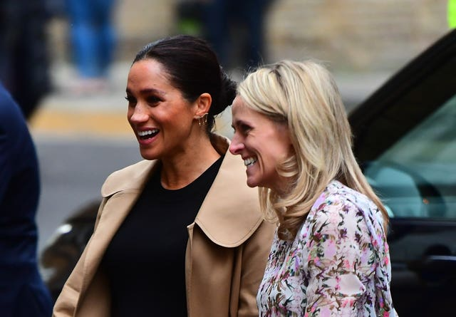 Kate Stephens (right) CEO of Smart Works welcomes the Duchess of Sussex as she arrives for a visit to Smart Works. Victoria Jones/PA Wire