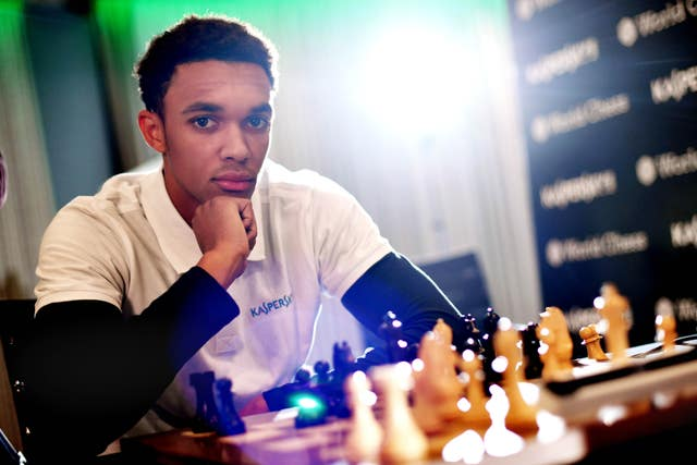 Alexander-Arnold pictured during the match against Carlsen