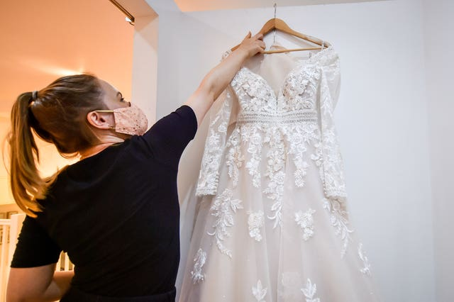 A wedding dress is quarantined after being tried on