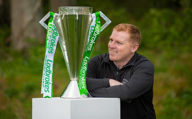 Neil Lennon with the Scottish Premiership trophy