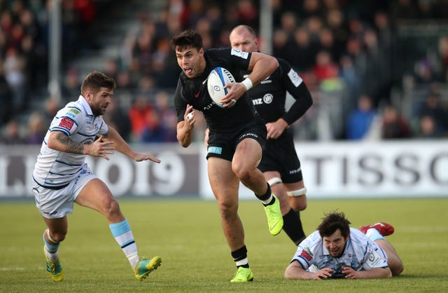 Sean Maitland, centre, is unsure whether he will remain at Saracens