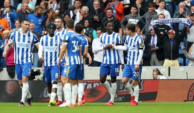 Brighton celebrate a goal