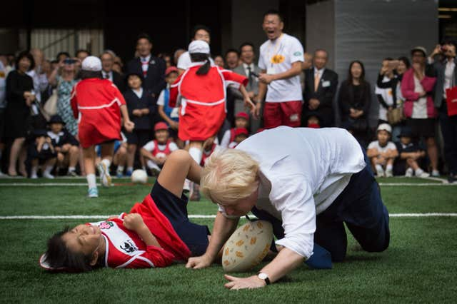 Boris Johnson tried his hand at rugby in Japan in 2015