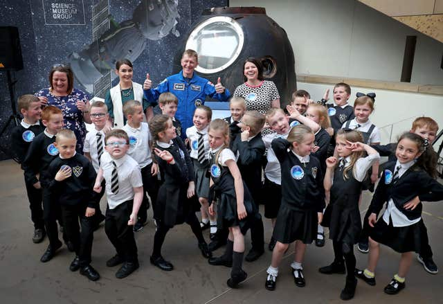 Major Peake told schoolchildren how he and the crew watched Star Wars on the ISS (Jane Barlow/PA)