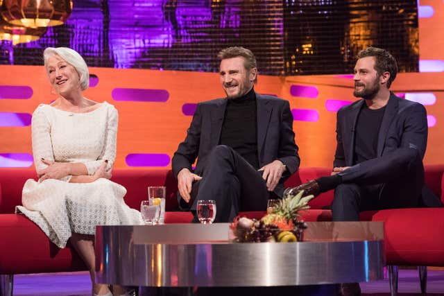 Dame Helen Mirren, Liam Neeson and Jamie Dornan on Graham Norton's show (Matt Crossick/PA)