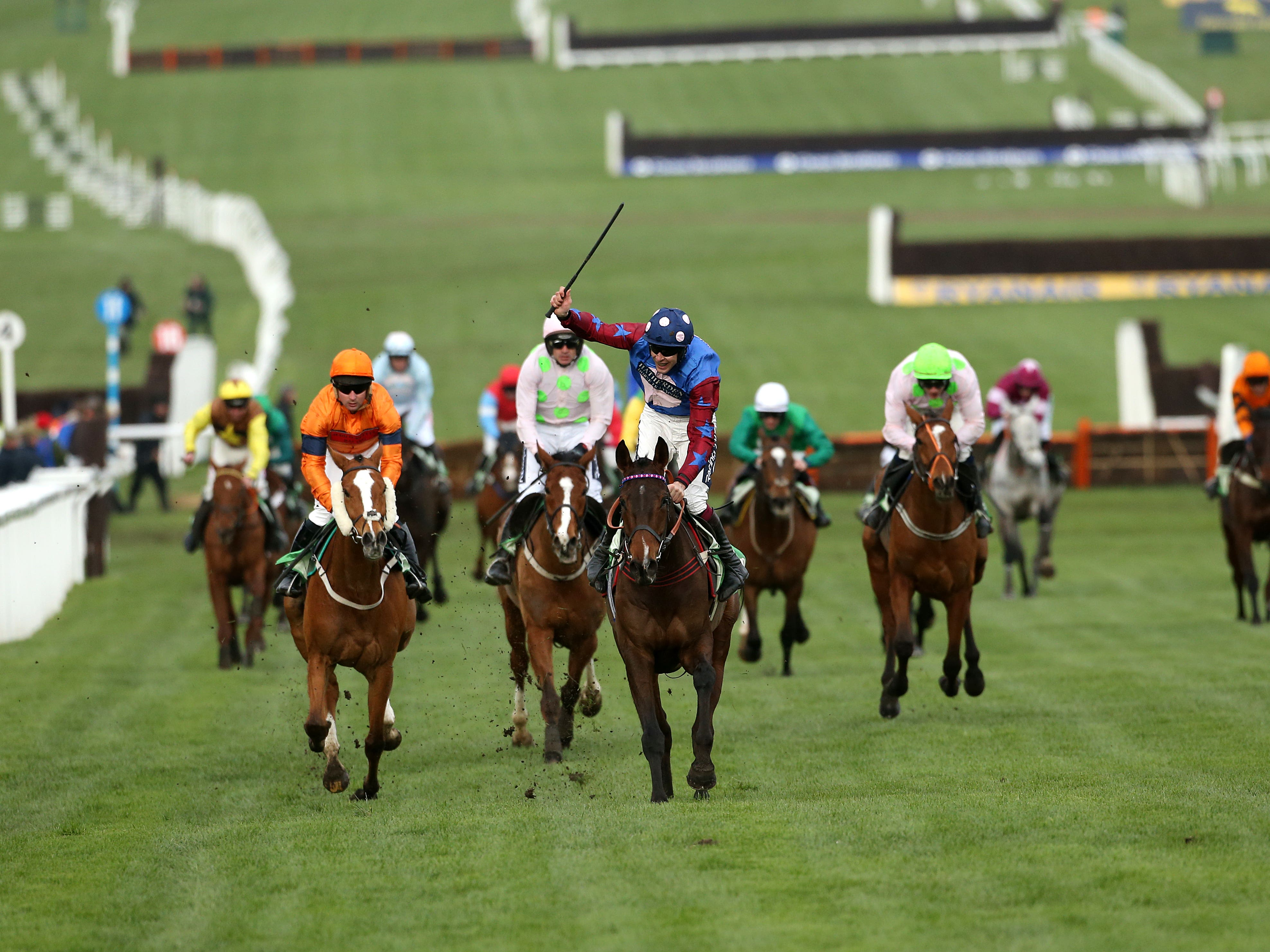 Paisley Park (centre) survived a blunder to see off Sam Spinner (Paul Harding/PA).
