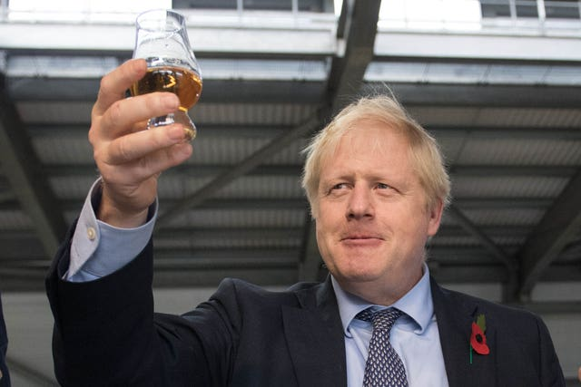 Boris Johnson with a dram