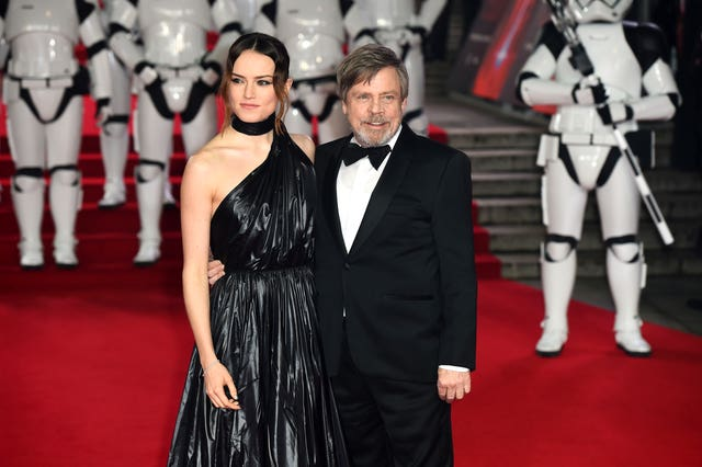 Daisy Ridley (left) and Mark Hamill attending the european premiere of Star Wars: The Last Jedi held at The Royal Albert Hall, London