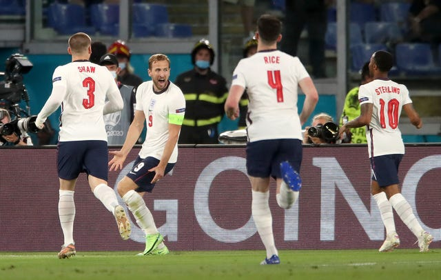 Kane (second from left) scored a first game in the fourth minute in England's comfortable victory over Ukraine (Nick Potts / PA).