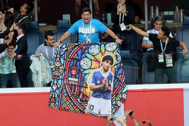 Maradona displayed a banner of himself at the 2018 World Cup in Russia, a tournament at which he attracted plenty of attention in the stands