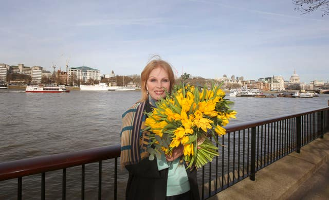 Joanna Lumley in 2015 at the site of the proposed Garden Bridge on the Southbank in London